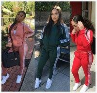 Men/Women Side Stripe Tracksuits New Gyms Set Spring Autumn 2 Piece Zipper Hoodies+pants Casual Track Suit Sportswear Sweatsuits