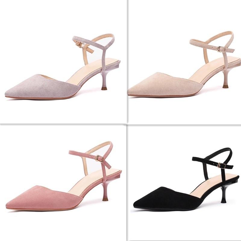 أحذية امرأة الصيف 2019 أحذية خفيفة عالية الكعب الأحذية الإناث مكتب سيدة باينت تو فلوك رقيقة الكعب الصنادل المرأة مضخة الصنادل حذاء-في أحذية نسائية من أحذية على  مجموعة 1