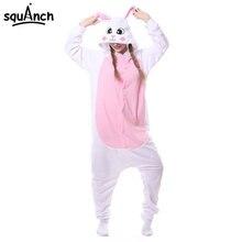 6 Models Rabbits Onesie Kigurumi Pink White Polar Fleece Animal Pajama Bunny Costume Carnival Holiday Outfit Winter Sleepwear