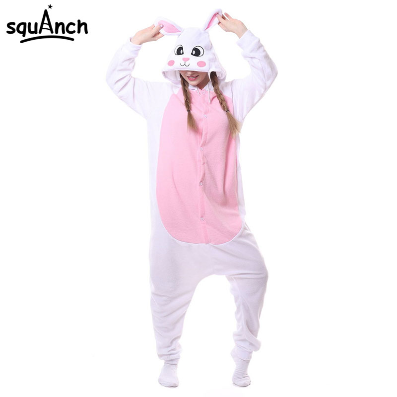 6 Models Rabbits Onesie Kigurumis Pink White Polar Fleece Animal Pajama Bunny Costume Carnival Holiday Outfit Winter Sleepwear