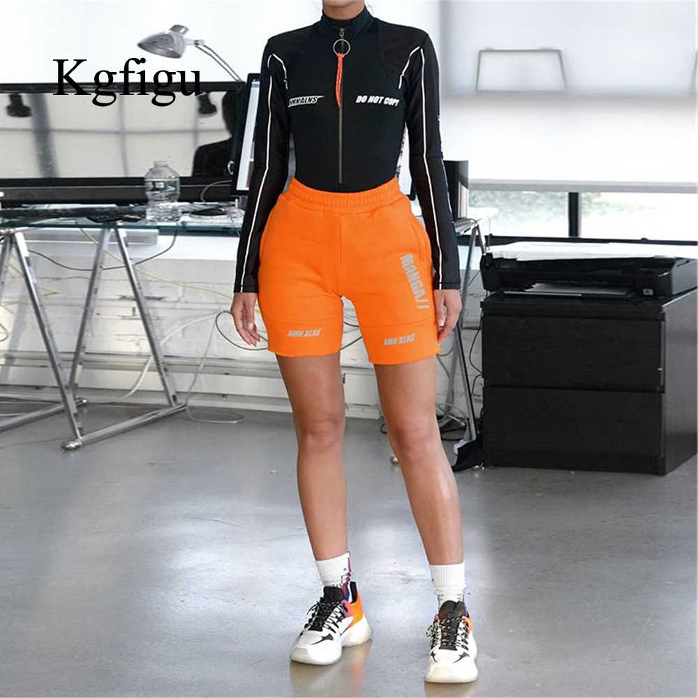 KGFIGU women Orange biker shorts 2019 high waisted sporty bicycle shorts casual Gray streetwear cotton trousers drop shipping