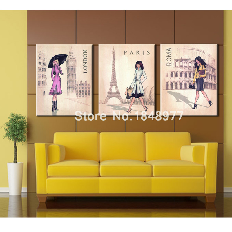 3 Piece Lager Wall Art Canvas Modern Women Paris London Rome ...