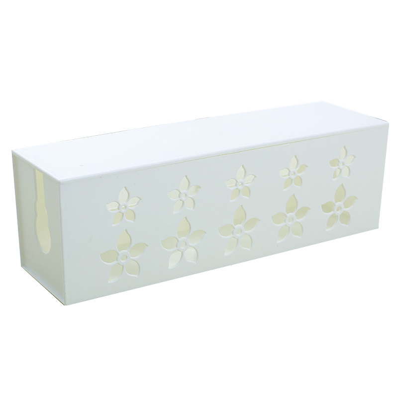 DIY plastic cable storage box desk organizer case cables box holder Safety Socket Outlet Board Container carved cord (white) L