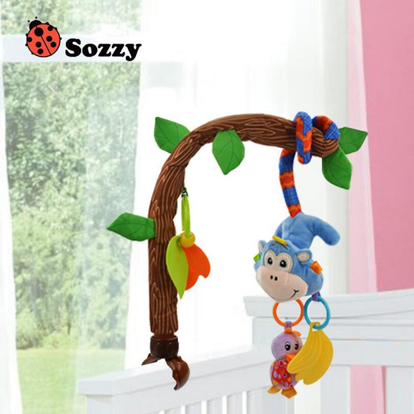 Multifunction baby play stroller Bendable Flexible car bed clip plush lathe hang hanging Seat animal owl monkey rattle Toys 28%