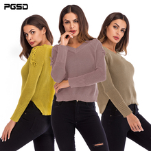 PGSD Simple fashion Casual Pure color Women Clothes Long sleeves V-neck loose Pullover Lace-up knitted sweater female stylish turtle neck long sleeves pure color women s jumper