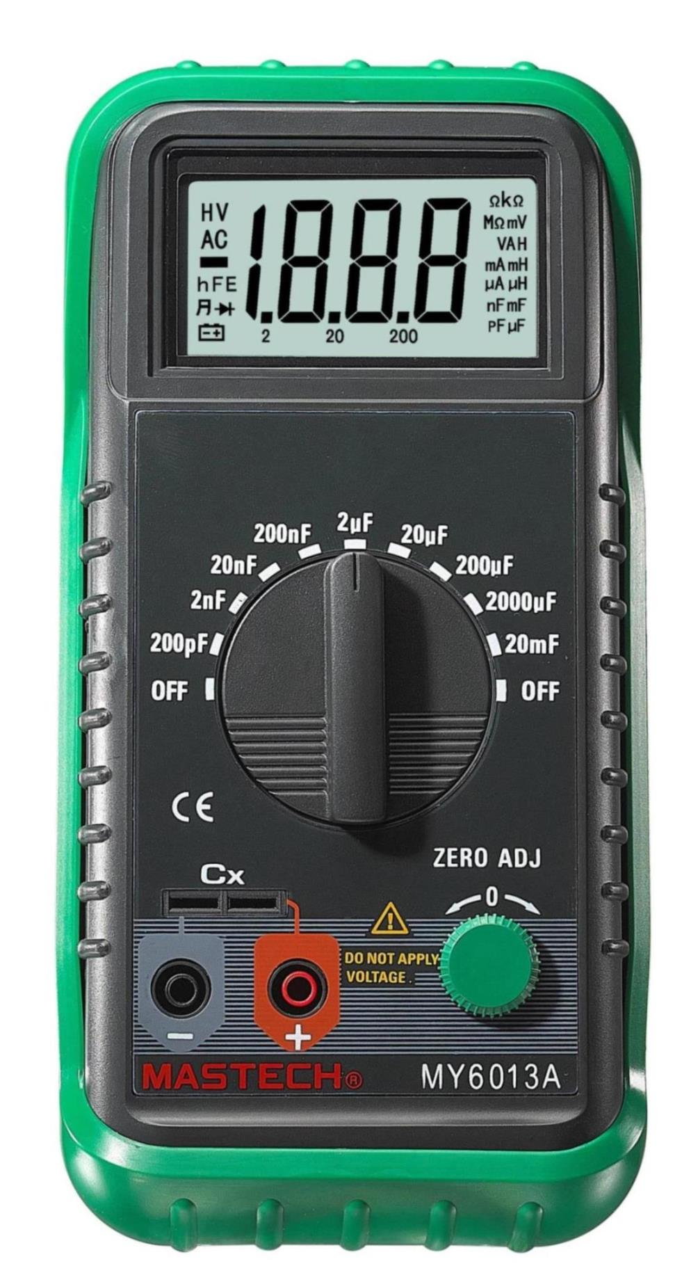 MASTECH MS6013 1999 Counts Portable 3 1/2 Digital Capacitance Meter Capacitor Tester 200pF to 20mF