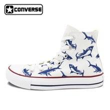 Women Men Converse All Star Man Woman Shoes Shark Original Design Hand  Painted High Top Sneakers Boys Girls Christmas Gifts ae6d6e2d9
