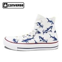 Для женщин Для мужчин Converse All Star человек женская обувь Акула оригинальный Дизайн ручной росписью высокие кроссовки мальчиков Штаны для девочек с рождественским изображением подарки