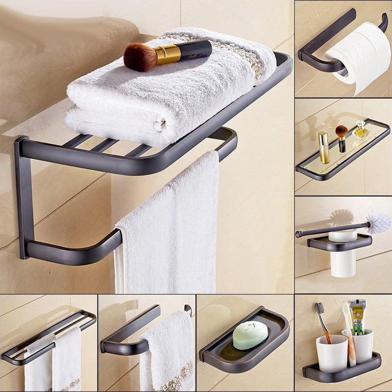 Bathroom Hardware Set Oil Rubbed Bronze Toothbrush Holder Paper Towel Bar Accessories
