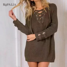 ROPALIA 2018 Women Sweater Pullovers female V Neck Knitted Lace up Sweater  Striped Bandage Cross Ties ceac5cba4