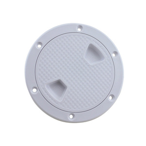 """Image 5 - Plastic Round 4"""" 6"""" 8"""" Marine Boat RV Hatch Cover White Screw Out Deck Inspection Plate"""