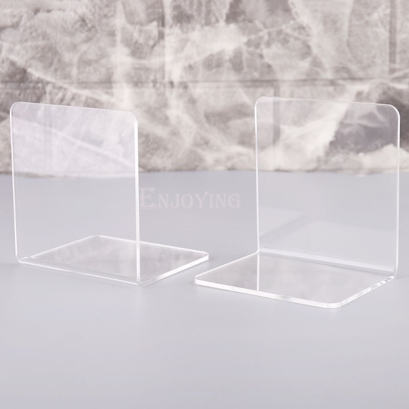 2Pcs Clear Acrylic Bookends L-shaped Desk Organizer Desktop Book Holder School Stationery Office Accessories 2