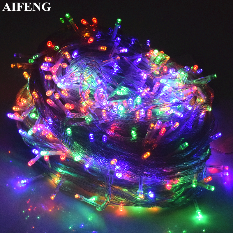 AIFENG Led String Fairy Light 5M 10M 20M 30M 50M 100M Garland 8 Mode Christmas Light Wedding Party Decor Outdoor Lighting String 5m 20led 10m 35led big ball string light indoor outdoor decorative fairy lighting for christmas trees patio party