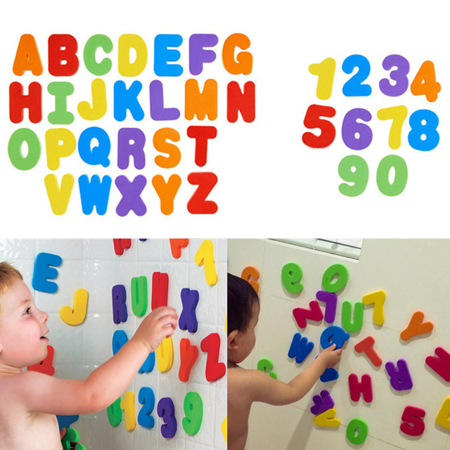 36PCS Alphanumeric Letter Bath Puzzle Soft EVA Kids Baby Toys New Early Educational Kids Tool Bath Toy Funny Toy