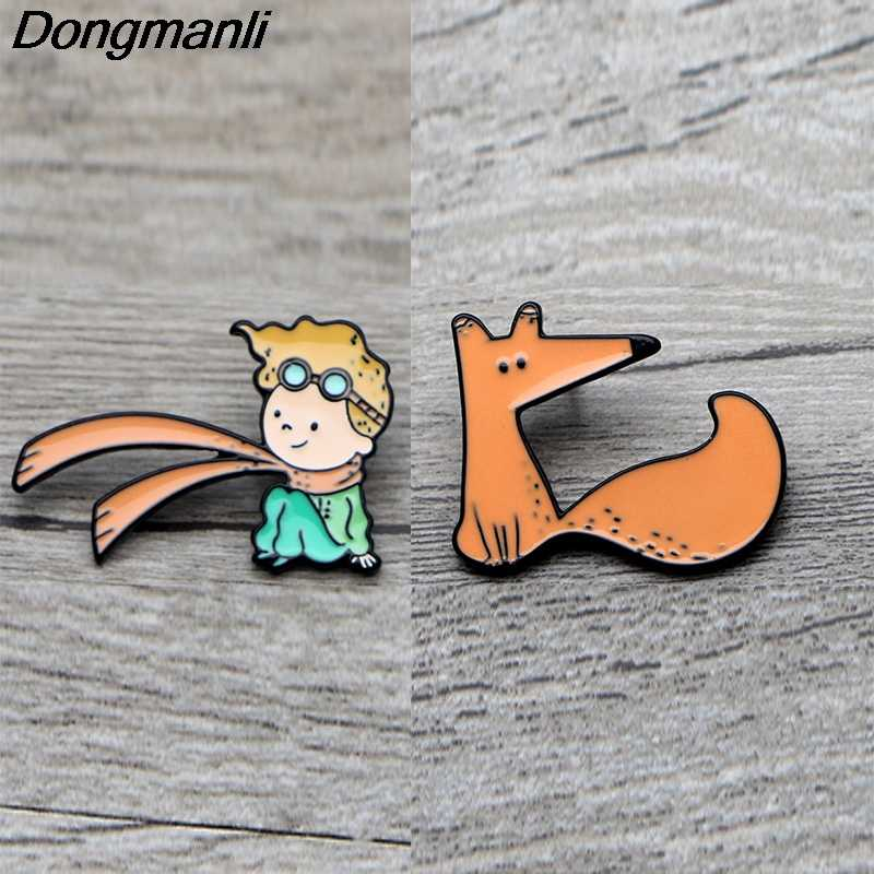 L3674 Le Petit Prince and Fox Cute Metal Enamel Pins and Brooches for Lapel Pin Backpack Bags Badge Collection Gifts 1pcs
