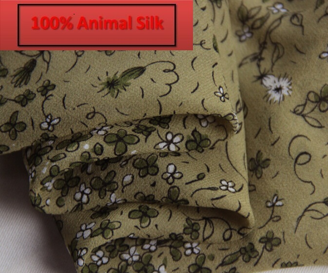 100% pure mulberry soft satin Brown Flower Silk georgette fabrics Silk scarf dressmaking Scarves Skirt materials  yards I271- 100% pure mulberry water ripple silk texture pure silk fabrics cicada skirt scarves dressmaking materials clothes 5 yardsh733