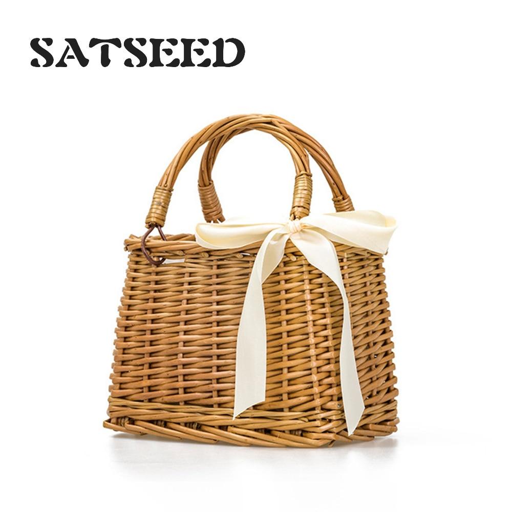 Japanese Style Rattan Bag Straw Bag For Women Summer Holiday Beach Bag Woven Basket Handbag Ribbons Bow Handmade Cute