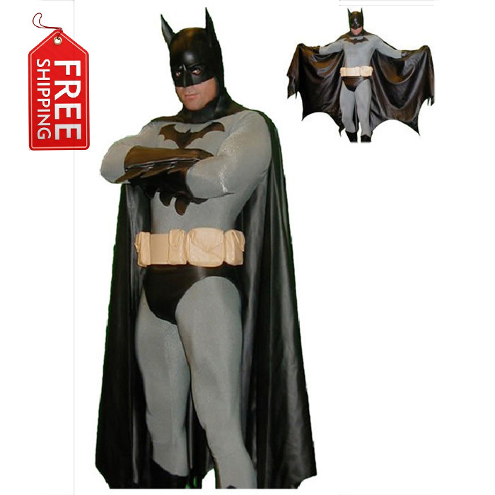 negro traje de batman hombres adultos disfraces de halloween para hombres zentai traje completo del cabo