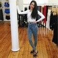 2016 Nuevas mujeres de la Llegada Ropa De Otoño Pantalones Vaqueros Delgados de Cintura Alta Más Tamaño Botón Elástica Denim Lápiz Delgado Femenino pantalones