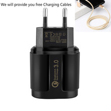 USB Charger 18W Quick Charge 3.0 Mobile Phone Charger 5V/9V/12 for iphone x 8 7 Samsung huawei Xiaomi for tablet wall charger