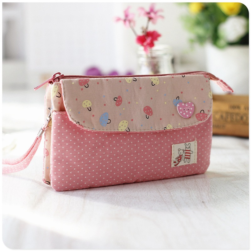 Cotton women s long organizer wallets mushroom   dot ladies coin purses  bags female small phone pouches girls carteira feminina -in Wallets from  Luggage ... c777b0f8b24a1