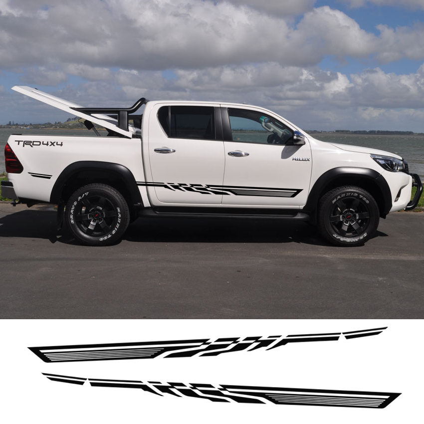 free shipping hilux racing side stripe graphic Vinyl sticker for TOYOTA HILUX First Impressions 2 pc hilux hilux chequered racing side stripe graphic vinyl sticker for toyota hilux decals