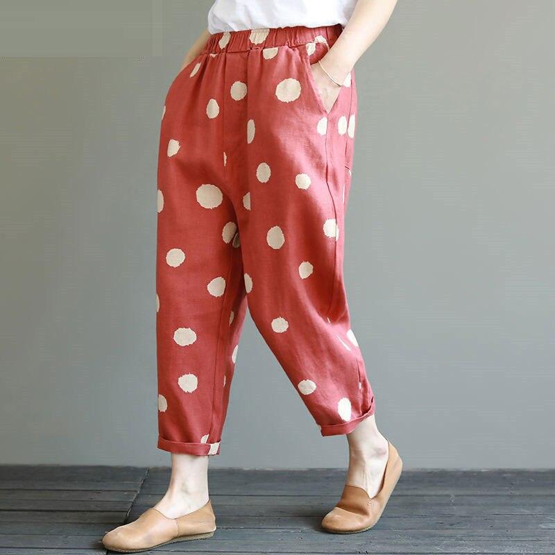 90% Cotton Vintage Loose Harem Pants Spring Summer Dot Print Elastic Waist Casual Cotton Linen Ankle-length Pants Plus Size D69