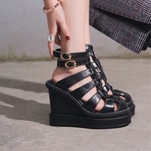 NAYIDUYUN   New Women Cow Leather Ankle Strap Platform Wedge Roman Gladiator Sandals Round Toe Super High Heel Party Pumps Shoes
