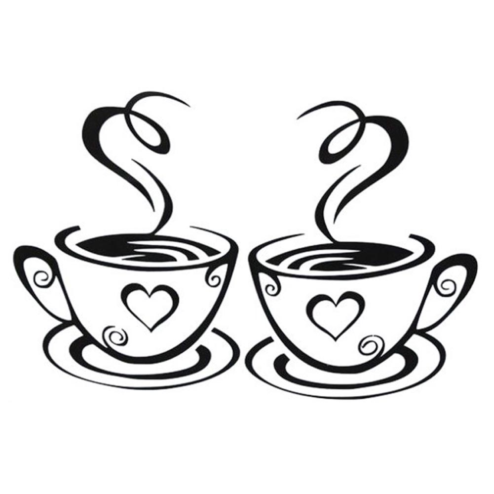 2018 Beautiful Design Double Coffee Cups Wall Stickers ...