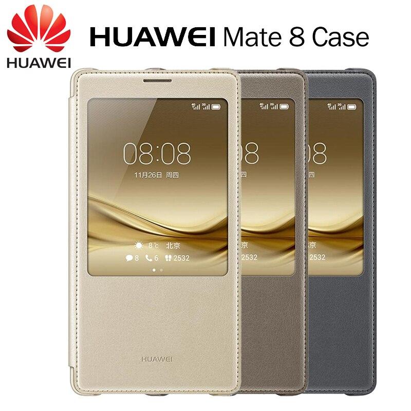 imágenes para Huawei Original del Compañero 8 Smart Window Vista Portada Del Tirón Del Caso cubierta de Tela De Cuero PU Cajas Del Teléfono para Huawei Mate 8 gris/Oro/Marrón