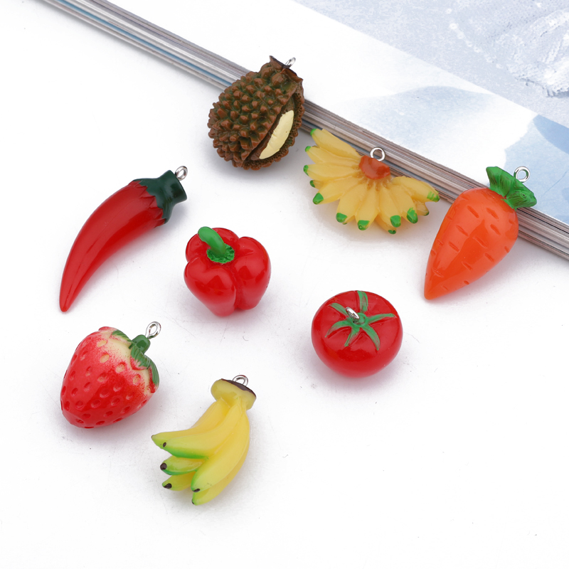 Fruit Charms Pendant Earring Findings Jewelry Necklace Tomato Carrot-Chili Strawberry