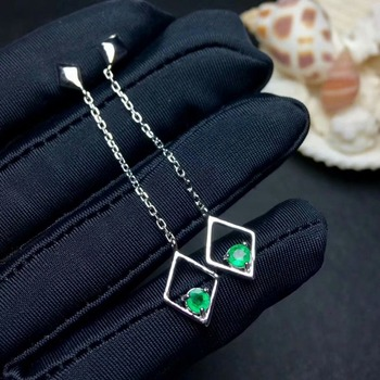 SHILOVEM 925 sterling silver real Natural Emerald stud earrings classic fine Jewelry women wedding wholesale 4*6mm yhe040606agml