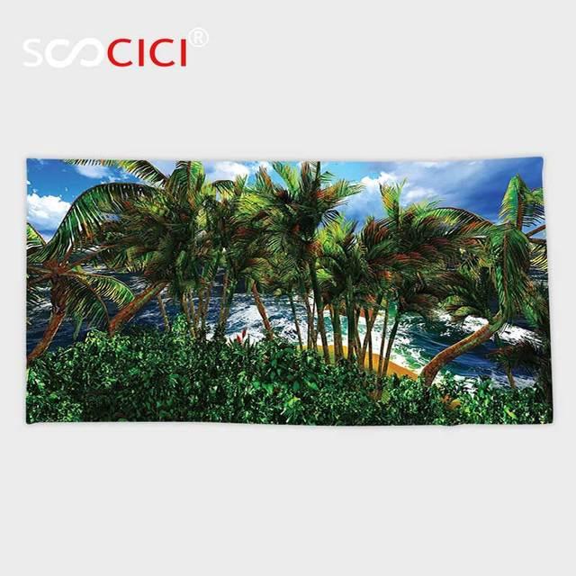 Custom Microfiber Ultra Soft Bath Hand Towel Hawaiian Decorations Hawaii Island Palm Trees Forest