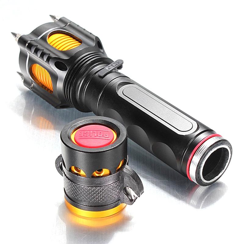 LED T6 Flashlights Torch Self-defense Lanterna Led 3800 Lumens Tactical Light Lamp Waterproof 5 Modes Alarm Knife For Emergency