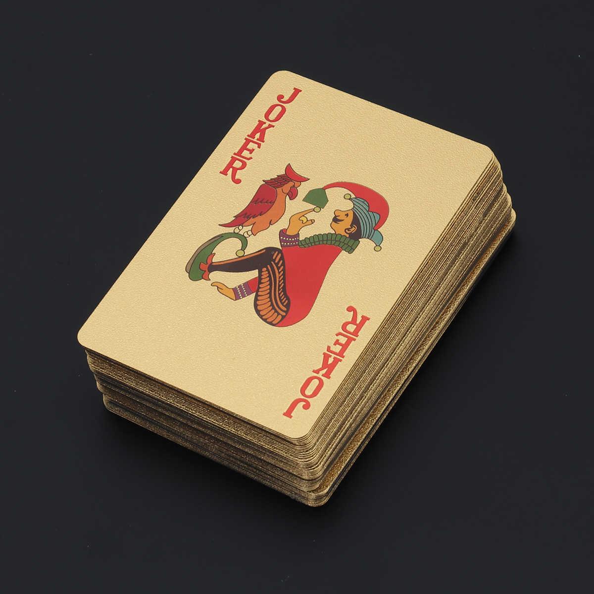 Позолоченные игральные карты из фольги для покера настольные игры Джокер колода (золото)