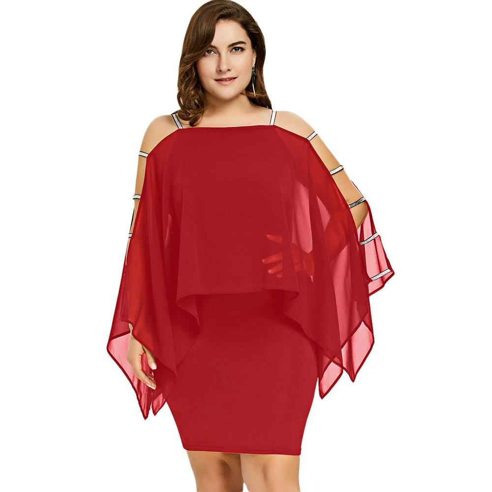 Women Summer Fashion Plus Size 5XL Dress Ladder Cut Chiffon Capelet Dress Long Sleeve Square Collar Elegant Party Dress Vestido in Dresses from Women 39 s Clothing