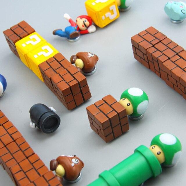 63 sztuk 3D Super Mario Bros. Lodówka magnesy lodówka wiadomość naklejka śmieszne dziewczyny chłopcy dzieci dzieci Student zabawki prezent urodzinowy
