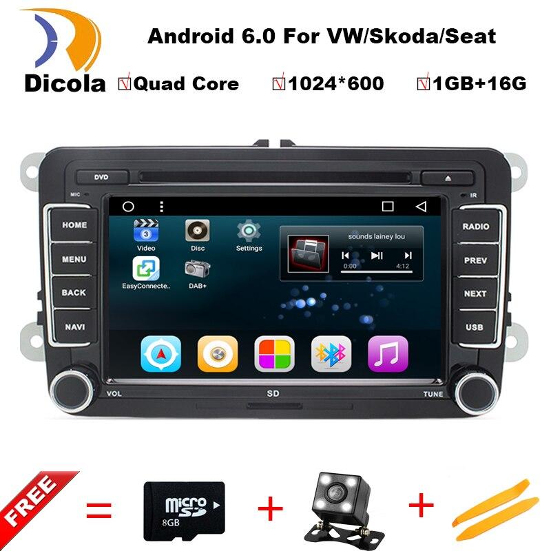 imágenes para 1024*600 Android 6.0 Radio de Coche Reproductor de DVD Para VW Passat POLO GOLF Skoda Seat Leon Quad Core con GPS Navigator Soporte DAB DTV