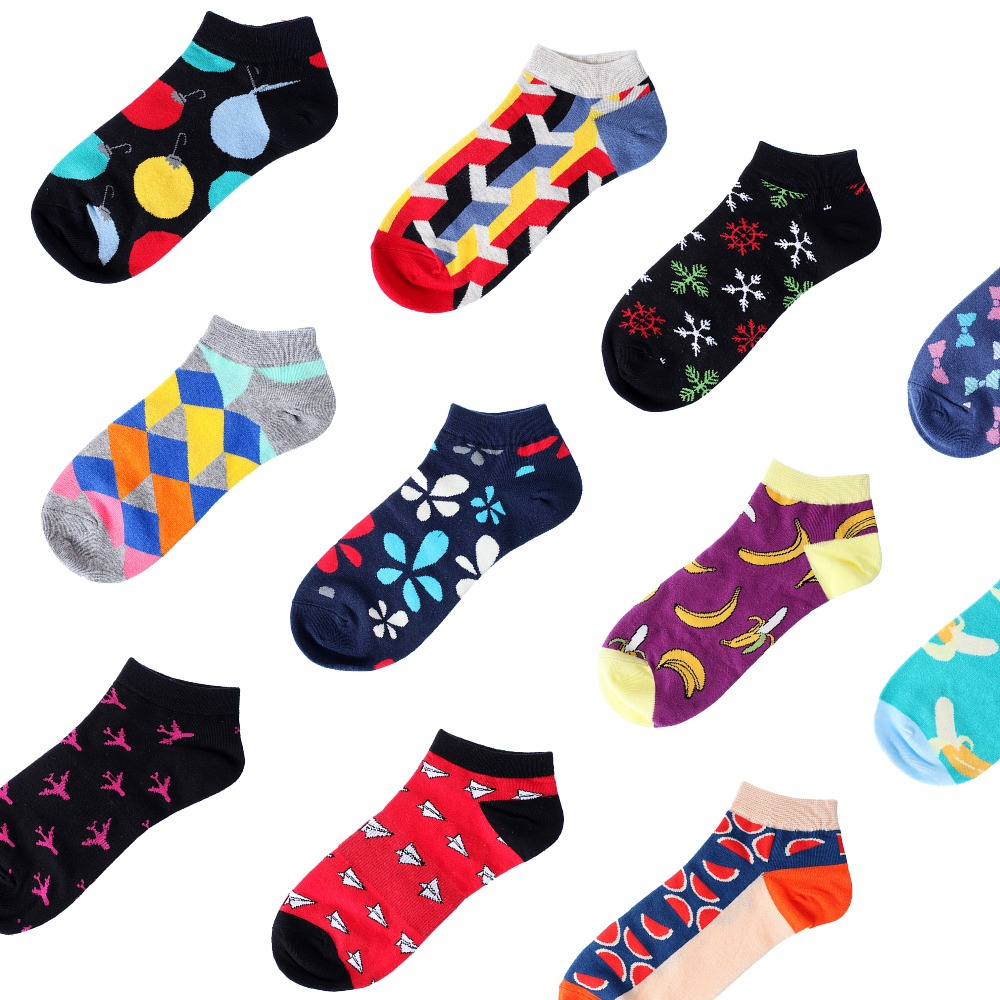 Colorful Men's Cotton Ankle Happy   Socks   Invisible Low Cut Summer Casual Breathable Short Unisex Cool Funny   Socks   meias