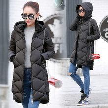 2016 New Winter Women Coat Warm Big Hooded Cotton Down Jacket Medium Long Thick Parkas Fashion