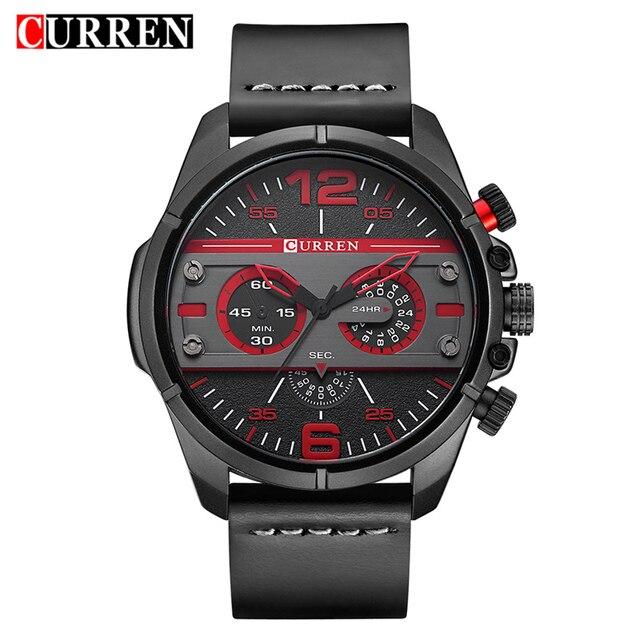 f590ab45a1a0 Curren 8259 relojes para hombre Top marca de lujo de cuero militar reloj de  cuarzo hombres