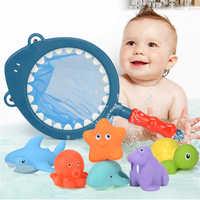 7 pçs/sets brinquedos de pesca rede saco pegar pato & peixe crianças brinquedo natação classes verão jogar água banho boneca spray de água brinquedos banho