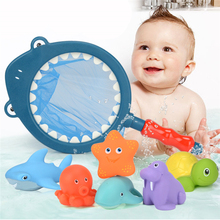 7PCS/Sets Fishing Toys Network Bag Pick up Duck&Fish Kids Toy Swimming Classes Summer Play Water Bath Doll Water Spray Bath toys