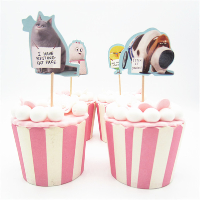 24pcs Cartoon theme Cupcake Toppers Pick Funny Kids Birthday Party ...