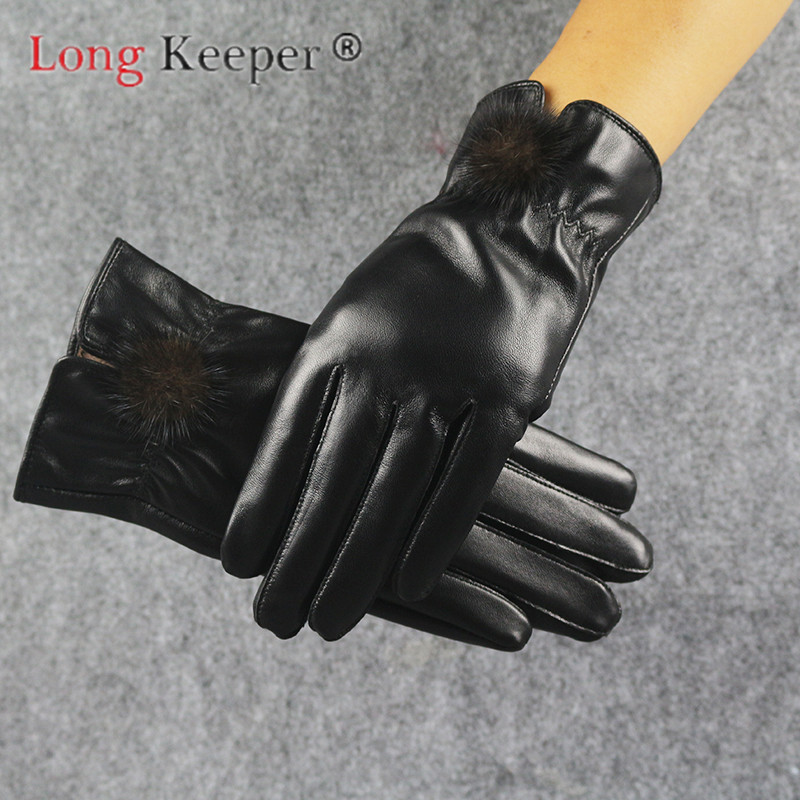 Longkeeper Pu Leather Thicker Cotton Gloves Women Touch Screen Winter Autumn Mittens Elegant Black Velvet Full Finger Guantes Back To Search Resultsapparel Accessories