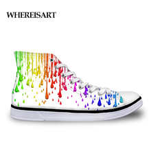 WHEREISART Rainbow Graffiti Printing Shoes High Top Men Casual Flat Vulcanize White Mens Designer Sneakers Zapatos Hombre