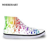 WHEREISART Rainbow Graffiti Printing Shoes High Top Men Casual Flat Vulcanize Shoes White Mens Designer Sneakers Zapatos Hombre
