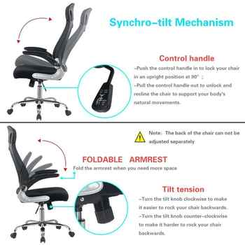 Office Chair Black Ergonomic Swivel Mesh Task Chair High Back Padded Desk Chair With Foldable Armrest Head Support Adjustable