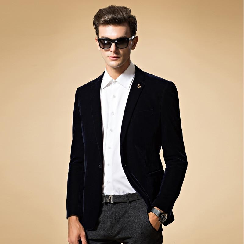 Męska marynarka wysokiej jakości garnitur kurtka koreański mody aksamitne niebieskie marynarka mężczyzna kurtka na co dzień pojedyncze piersi plus rozmiar 6XL na sprzedaż w Marynarki od Odzież męska na  Grupa 1