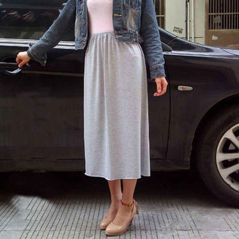 Femmes demi glisse solide décontracté jupon jupe genou longueur robe dame underjupes Vestidos bas jupes sous-vêtements vêtements de nuit